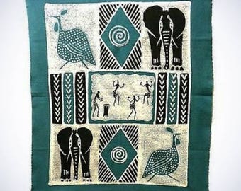 Dancers and Animals Batik in Blue/Black Wall Hanging