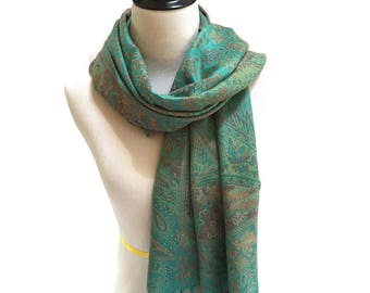 Pashmina Scarf Green Scarf Blue Scarf Pashmina Shawl Gift For Her Infinity Scarf Fashion Accessories Mothers Day Pashmina Scarves Gift Idea