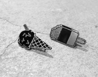 BUNDLE DEAL The Black Winnebago Club Soft Enamel and Antique Silver Pin - Ice Cream Cone and Ice Lolly Pins - The Black Winnebago Club