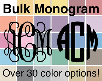 SALE HALF OFF - Bulk Monogram Decal | Vine Monogram Decal Bulk | Circle Monogram Decal Bulk