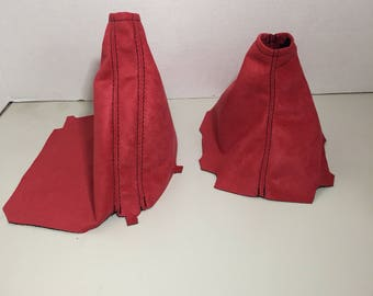 2015-16 Subaru WRX and STI Red Suede Shift and Brake Boots | Choice of Stitch Colors