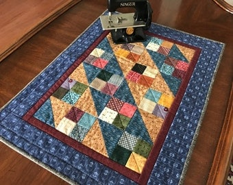 Doll Quilt, Miniature quilt, table runner, Civil War replica, Quiltsy handmade, Item #165