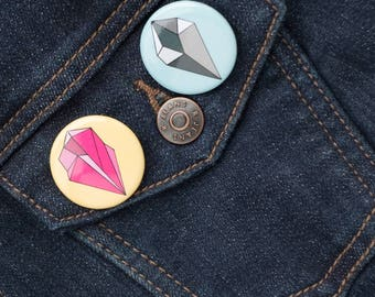 Crystal Pin Set, Geometric Pin Set, Pin Set 2, friendship pins,