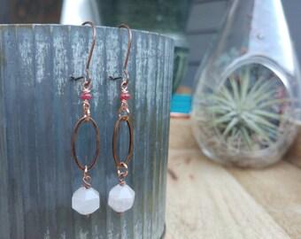 Rose Quartz and Ruby Earrings