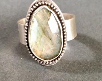 Silver Ring, Labradorite Ring, Statement Ring, Metalsmithing, Silversmithing, Handmade, Hand Fabricated