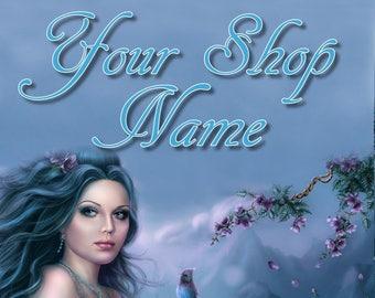 Lady in Blue Banner, Fantasy Banner Set, Shop Banner Set, Digital Graphics, Custom Banner, Cover Photo, Banner Design, Premade Banner