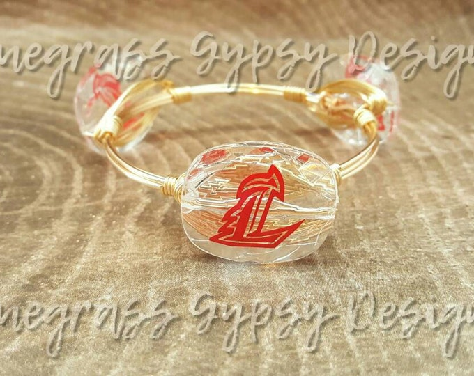 20% off University of Louisville Wire Wrapped Bangle, Bracelet, UofL bangle, Bourbon and Boweties Inspired