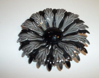 Vintage Black And Gray Enamel Brooch