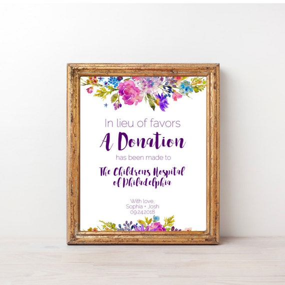 garden in lieu of favors sign template purple printable wedding donation signage diy digital. Black Bedroom Furniture Sets. Home Design Ideas