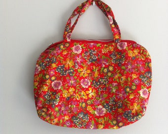 Vintage Toiletry, wash bag, make up bag, baby changing bag. Red flowers, cotton fabric, waterproof lining.