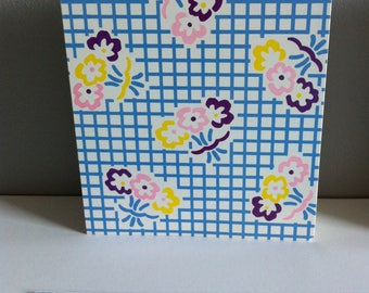 Vintage giftwrap, gift tags, wrapping paper set. Blue grid, flowers, x2 sheets paper, x2 gift tags.
