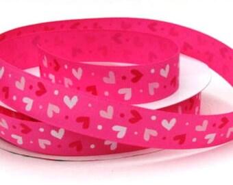 "7/8"" Valentine Hearts on Hot Pink Grosgrain Ribbon"