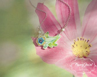 OOAK necklace, hand painted pendant, 925 sterling silver, Swarovski Pearls, Swarovski Crystal, made in Italy, flower pendant, mother's gift