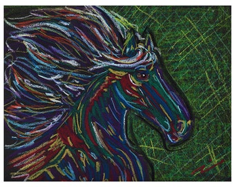 Original Horse Art / Horse Drawing, Stallion Pastel Drawing by Heather Payer-Smith, original oil pastel drawing