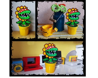 "Petey Piranha Plant Super Mario Art Beads 8"" // Handmade 8 bit Plant Pixel Decoration"