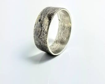 Mens Rustic Wedding Band, Silver Wedding Band, Viking Wedding Band, Engraved Wedding Band, hammered silver, gift for him, handmade jewelry