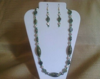 144 Natural Green Jungle Jasper and Silver Plated Beaded  Necklace