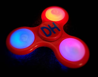 Personalized LED Light Up Fidget Spinner - Flashing Custom Fidget Spinner - Choose Any 2 Characters - Letters, Numbers, or a Mix of the two