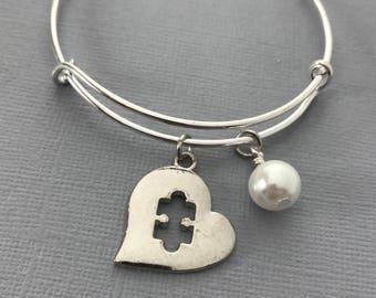 Autism Jewelry - Autism Puzzle Piece - Personalized Bracelet - Gift for Her - Autism - Autism Awareness - Autism Mom - Autism Bracelet