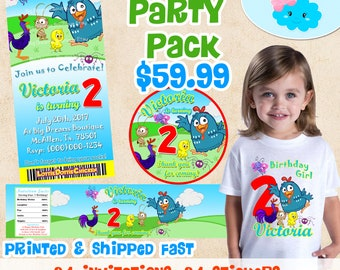 Little Dottie Chicken Invitations Birthday Party Set, Gallinita Pintadita Birthday Shirt