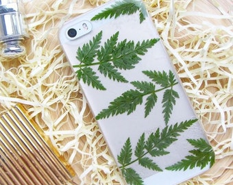 Real pressed flower phone case for iPhone SE • resin floral bumper cover • iPhone 7 plus case • Fern green leaf • Pressed leaf phone case
