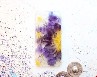 Unique iPhone 7 case • Real flower phone case • Purple iPhone SE case • Freesia phone cover • Botanical iPhone 6 case • Mysterious case