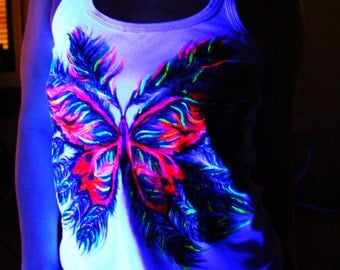 """UV-Painted T-shirt """"Butterfly of the Forest"""""""