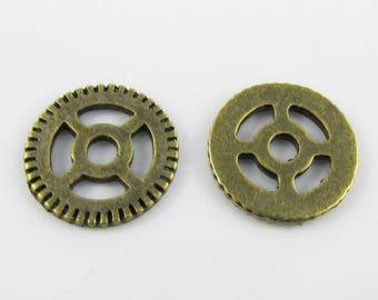 Bulk Steampunk Cog Charm Pendant Antique Bronze 15mm Pack of 10
