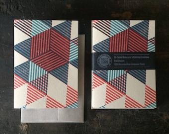 Six Pyramids Letterpress Notecards - Red & Blue