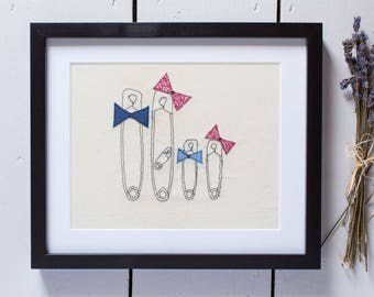 Safety Pin Family embroidered, mounted and framed. Can be Personalised. Bespoke gift. Great present for new baby, family, Baby announcment