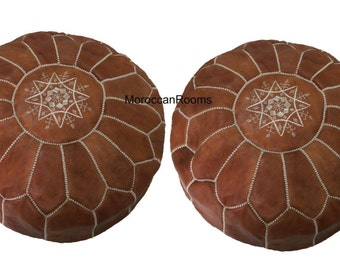 Lot of 2 Moroccan Leather Pouf
