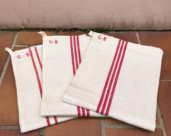 Vintage Rustic French Linen Red Stripe Tea Towel dish cloth Set of 3 16021722