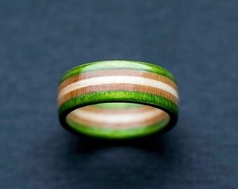 Skateboard Ring - Green Wooden Ring - Wooden bands - Wood Ring  - Green - Wooden Jewelry - Waterproof Ring - Skate Ring - Wedding Ring
