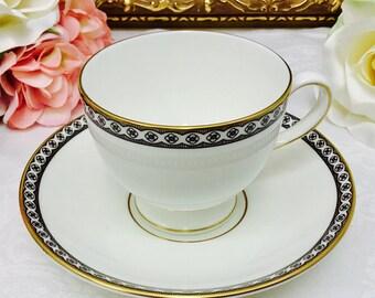 Wedgwood Black Ulander teacup and saucer.