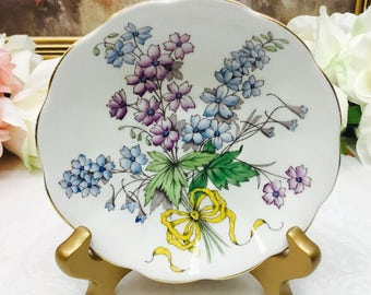 """Royal Albert Flower of the month """"Larkspur"""" hand painted orphan saucer"""