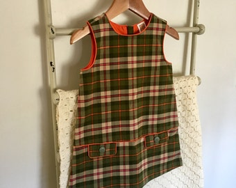 Little Girl's 70's Style Mod Dress in Green Tartan