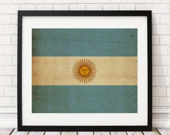 Argentina Flag Art, Argentina Flag Print, Flag Poster, Country Flags, Argentina Poster, Industrial Wall Decor, Flag Wall Art, Gift Idea