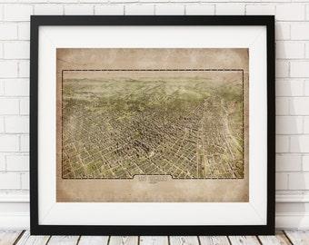 Los Angeles Map, LA Mural, Vintage Map Art, Antique Map Print, Map of Los Angeles, Old Map, Los Angeles Print, California, Los Angeles Art