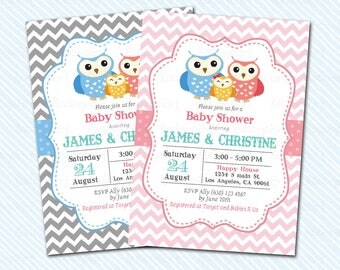 Digital Printable Owl baby Shower Invitation. baby invitation