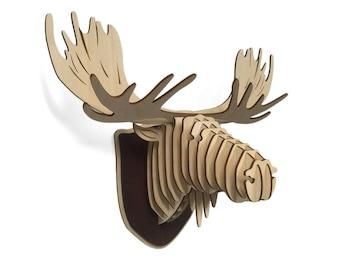 Wooden Moose Head, Wood Moose Trophy, Wood Wall Art, Home Decor, Animal Art, Moose Wall Art