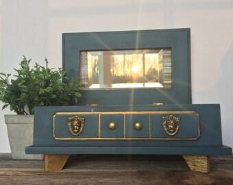Vintage Hand Painted Solid Wood Storage Box, Jewelry, Keepsake, Trinket Box, Dresser Vanity, Gift for him or her, Blue, Gold, Lion head