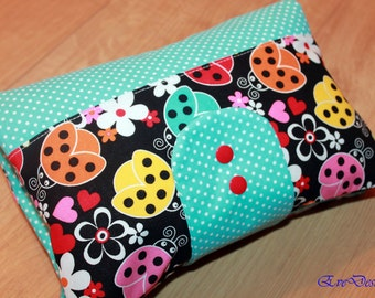 Nappy Wallet (blue, yellow, ladybirds )
