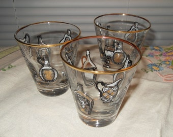 3 Vintage Rock Glasses 6oz Bar Glasses