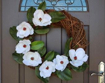 Artificial Floral Wreath, Spring Wreath, Door Wreath, Wedding Wreath, Magnolia Wreath, Decor Wreath, Front Door Wreath, Funeral Wreath