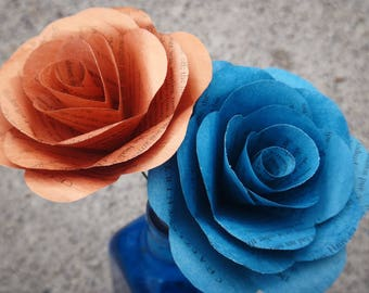 Ravenclaw Book Page Roses, Harry Potter Book Page Flowers