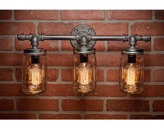 Kichler Barrington 3 Light 22 In Cylinder Vanity Light At: 3 Light Industrial Loft Rustic Style Iron Pipe And Mason Jar