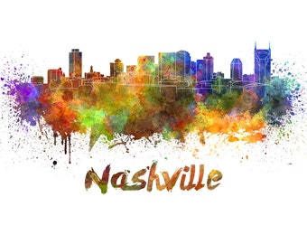 Nashville skyline watercolor canvas, Nashville Canvas Print, Nashville wall art, Nashville Canvas Art, Watercolor Skyline, Nashville print