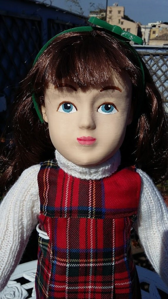 Zisa Doll with tartan pinafore dress