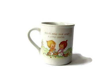 Vintage Betsey Clark, Vintage Coffee Cup, Vintage Hallmark Rainbow Best Friends Tea Cup Coffee Mug Hallmark Cup, 80s, Retro Mug, Shabby Chic
