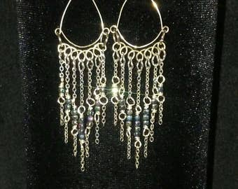 Hand-Made, Silver and Hemotite, Chandelier, Fringe Earrings